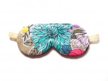 Organic Cotton Sleep Mask, Adjustable, Turquoise Floral