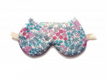 Cat Floral Silk Sleep Mask, Adjustable
