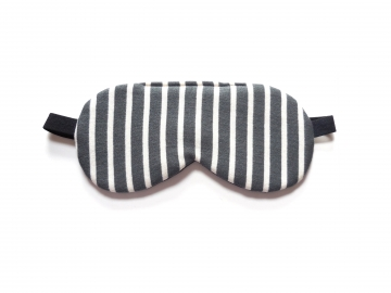Striped Knit Organic Cotton Adjustable Sleep Mask, Gray/cream